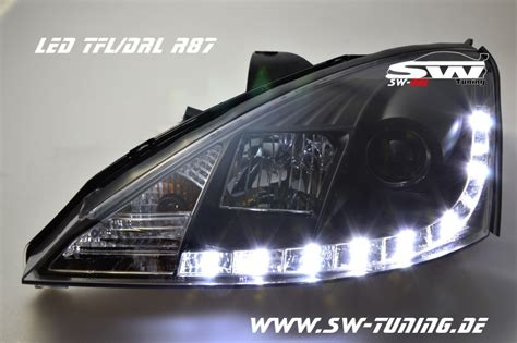sw drl headlights ford focus mk    led drl black