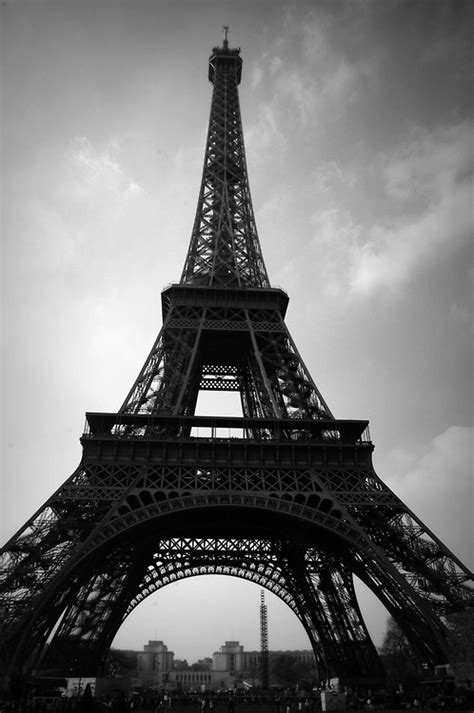 paris paris eiffel tower black  white