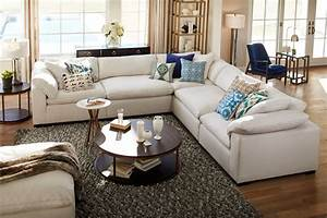 Plush 5 piece sectional anders ivory american for Kroehler furniture slipcovers