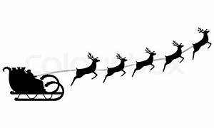 Santa And Reindeer Flying Silhouette
