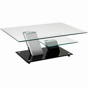 Table Basse Noire Design : table basse 2 plateaux verre ~ Carolinahurricanesstore.com Idées de Décoration