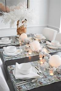 White, Forest, Christmas, Table, Setting