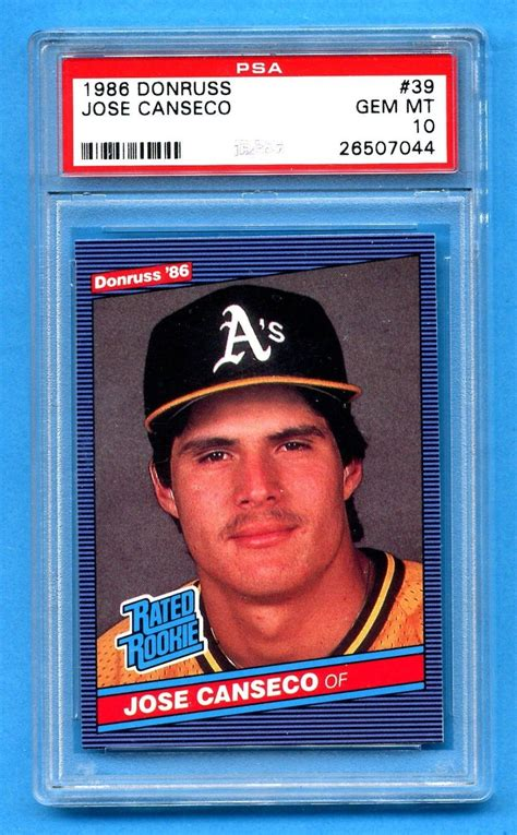 But in this time of card shops on every corner, everybody was forgetting about one of the most basic rules of economics: 1986 Donruss Jose Canseco ROOKIE CARD PSA 10 GEM MINT #PSA10   Jose canseco, Baseball cards ...