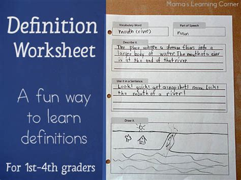 a way to write definitions for 1st 4th graders w a