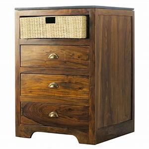 Meuble Bas Bois : meuble bas de cuisine en bois de sheesham massif l 60 cm luberon maisons du monde ~ Teatrodelosmanantiales.com Idées de Décoration