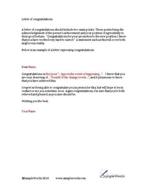 congratulations letter template business forms