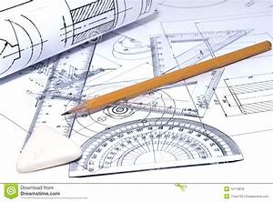 Close Up Of Engineering Drawing Royalty Free Stock Photos