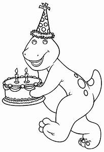 Barney Bringing A Birthday Cake | Barney Coloring Pages ...