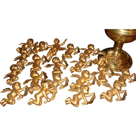 20 vintage gold hollow plastic angel cherubs christmas