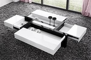 Table Laqué Blanc : table basse avec rangement noir le bois chez vous ~ Teatrodelosmanantiales.com Idées de Décoration