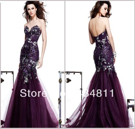 Dark Purple Mermaid Prom Dresseslace Sweetheart Mermaid
