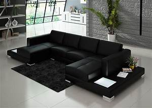 Black double chaise sectional sofa with two end tables for Sectional sofa with built in table