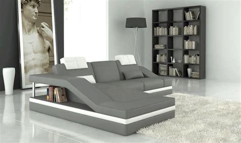 canape angle italien canapé d 39 angle en cuir italien 5 places elvir gris clair