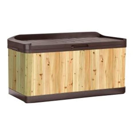 Suncast Cabinets At Menards by Suncast Cedar And Resin Hybrid 120 Gal Deck Box With Seat