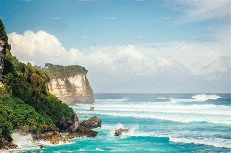 powerful waves  indian ocean hitting cliff  bali