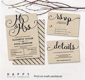 Printable wedding invitation set editable modern wedding for Modern wedding invitations free samples