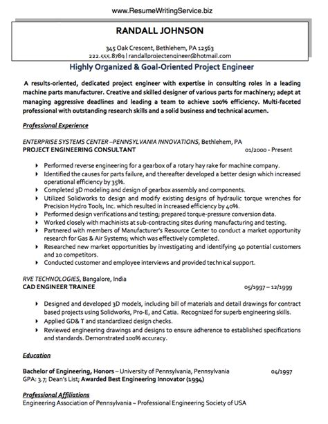 use a project engineer resume sle here resume writing