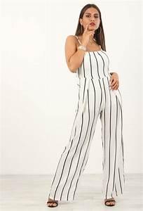 Combinaison Femme Noir Et Blanc : combinaison pantalon rayures dos nu blanc ~ Melissatoandfro.com Idées de Décoration