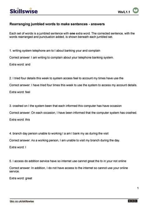 Reordering Sentences Worksheets  Free Printables Worksheet