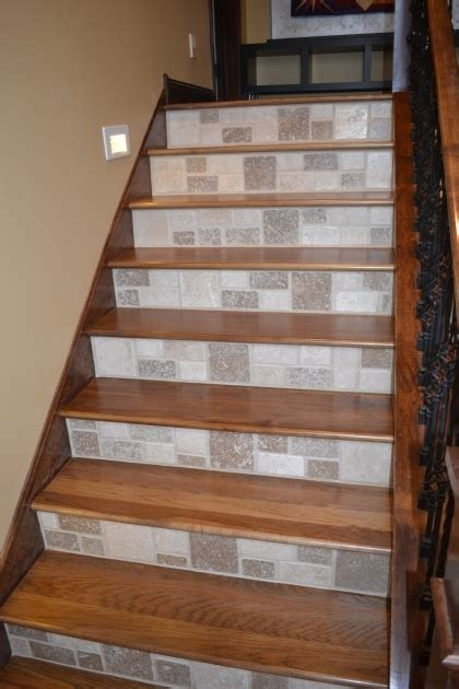 Tile Stair Nosing Wood by Wood Stair Treads With Tile Risers Staircase Installation