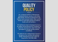 Quality Policy Jaipuria Institute of Management
