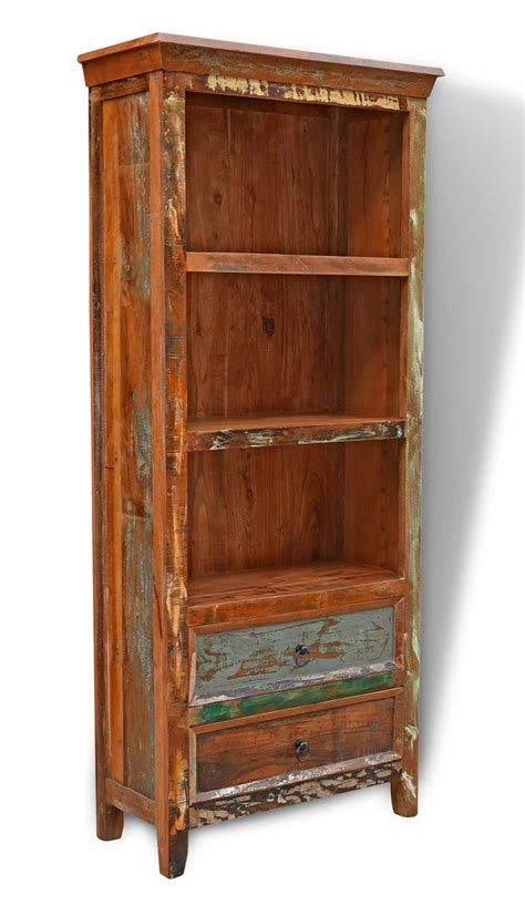 Indian Wood Bookcase by Recycled Multi Coloured Indian Wood Narrow Bookcase