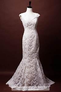 sophia trumpet key hole back lace bridal dress avivaly With french lace wedding dress