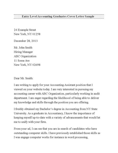entry level accounting cover letter examples  cover