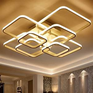 Moderne Deckenleuchten Led : square circel rings chandelier for living room bedroom home ac85 265v modern led ceiling ~ Frokenaadalensverden.com Haus und Dekorationen