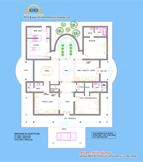 villa elevation  floor plan  sq ft kerala home design  floor plans