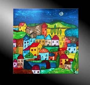 Moderne Kunst Leinwand : atelier mico city fantasies no 34 acryl malerei ~ Markanthonyermac.com Haus und Dekorationen
