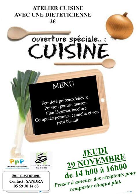 affiche atelier cuisine centre social du hameau pau novembre 2012