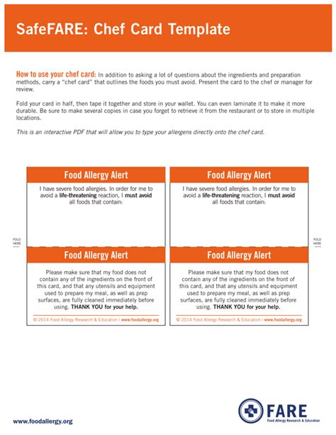 allergy card template safefare chef card template food allergy research