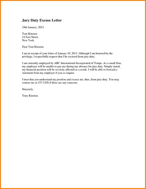 Letter Of Resume Duty jury duty excuse letter from employer the letter sle
