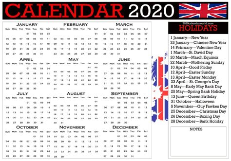 uk  calendar  holidays printable template  word