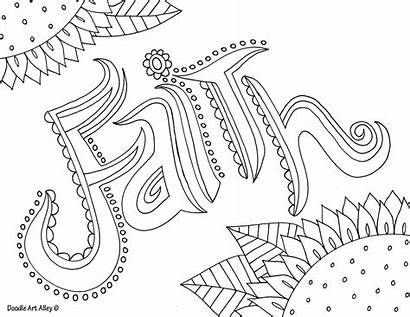 Coloring Word Pages Faith Doodle Alley