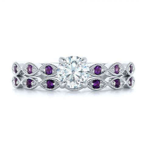 Custom Diamond And Amethyst Engagement Ring #102319