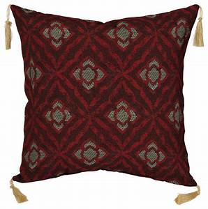 geo floral berry toss pillow with tassels decorative With decorative throw pillows with tassels