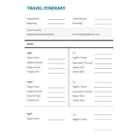 itinerary templates travel wedding vacation