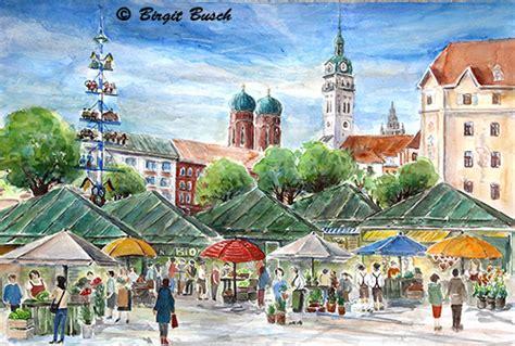 Englischer Garten Zum Viktualienmarkt by M 252 Nchen Aquarelle Stachus Stadtansicht Viktualienmarkt