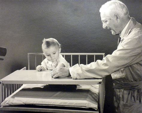 dr gesell studying  baby historical  photo