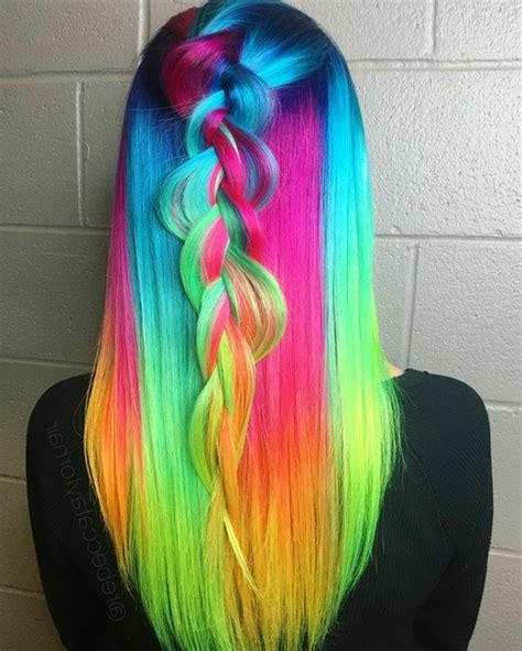 colorful hair bright rainbow delicate pastel  slightly