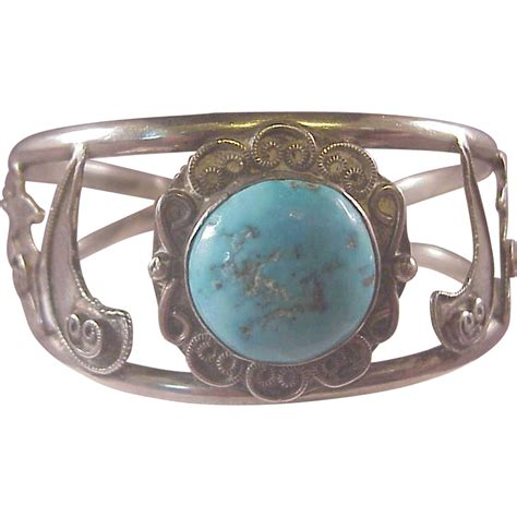 vintage american sterling and turquoise cuff from