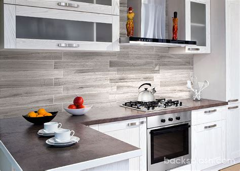 Modern Backsplash Tiles : Silver Gray Long Subway Modern Marble Backsplash Tile