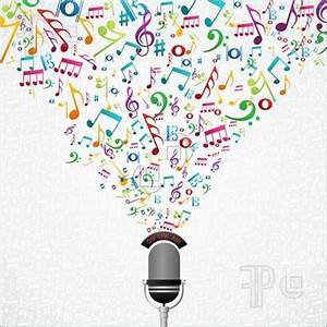 microphone with music notes clipart - Clipground