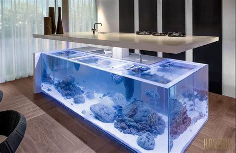 plan de cuisine avec ilot central cuisine design aquarium