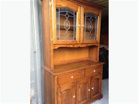 Solid Oak 2 Pcs Buffet/hutch China Dining Room Cabinet