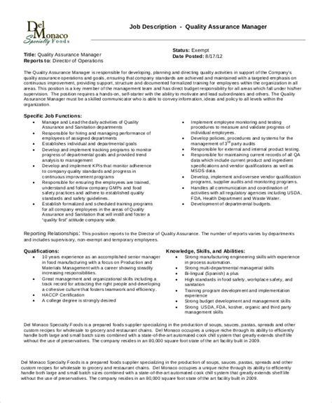 quality assurance manager resume pdf 28 images sle
