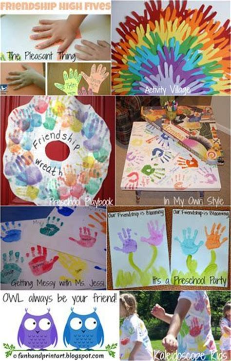 friendship crafts made with handprints handprint 573 | Friendship Week Handprint Crafts