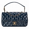 Chanel Navy Quilted Patent Eyelet Flap Bag | World's Best